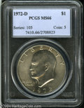 Eisenhower Dollars: , 1972-D $1 MS66 PCGS. Silvery surfaces emit radiant luster....