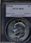 Eisenhower Dollars: , 1973-D $1 MS66 PCGS. Well struck, with lustrous nearly ...