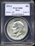 Eisenhower Dollars: , 1973-S $1 Silver MS68 PCGS. A thin veneer of gold color ...