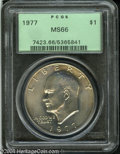 Eisenhower Dollars: , 1977 $1 MS66 PCGS. Lustrous surfaces are visited by milky ...