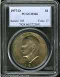 Eisenhower Dollars: , 1977-D $1 MS66 PCGS. Gold toning is accented with ...