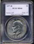 Eisenhower Dollars: , 1977-D $1 MS66 PCGS. Lustrous surfaces are covered by a ...