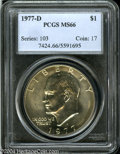 Eisenhower Dollars: , 1977-D $1 MS66 PCGS. A thin film of gold color occupies ...