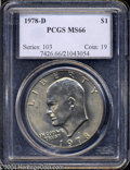 Eisenhower Dollars: , 1978-D $1 MS66 PCGS. A thin veil of gold color rests upon ...