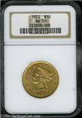 Liberty Eagles: , 1853 $10 AU50 NGC. The reverse rim has a couple of tiny ...
