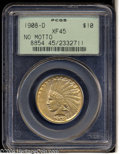 Indian Eagles: , 1908-D $10 No Motto XF45 PCGS. Some luster remains ...
