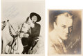 Movie/TV Memorabilia:Autographs and Signed Items, [Hopalong Cassidy] William Boyd Signed Photos (Two), One Portrait, One In-Character. ...