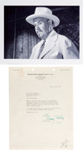 Movie/TV Memorabilia:Autographs and Signed Items, [Charlie Chan] Sidney Toler Typed Letter Signed (1932) to Samuel Goldwyn. ...