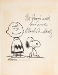Movie/TV Memorabilia:Autographs and Signed Items, Charles Schulz Signed Charlie Brown and Snoopy Print. ...