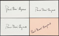 Autographs:Index Cards, Bear Bryant Signed Index Cards, Lot of 4....