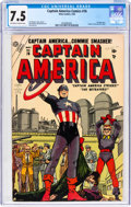 Golden Age (1938-1955):Superhero, Captain America Comics #76 (Timely, 1954) CGC VF- 7.5 Off-white to white pages....