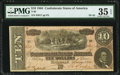 """Confederate Notes:1864 Issues, Broken """"F"""" Plate Letter T68 $10 1864 PF-42 Cr. 551 PMG Choice Very Fine 35 EPQ.. ..."""