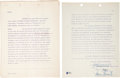 Movie/TV Memorabilia:Autographs and Signed Items, James Stewart Signed Contract for Strategic Air Command (1955)....