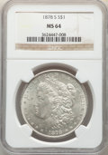 Morgan Dollars: , 1878-S $1 MS64 NGC. NGC Census: (17417/4993). PCGS Population: (17355/5784). CDN: $100 Whsle. Bid for NGC/PCGS MS64. Mintag...