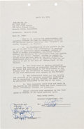 Movie/TV Memorabilia:Autographs and Signed Items, Warren Beatty Signed Shampoo Contract (1974)....