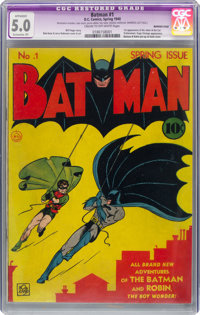 Batman #1 (DC, 1940) CGC Apparent VG/FN 5.0 Extensive (P) Cream to off-white pages