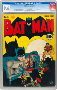 Batman #5 Central Valley Pedigree (DC, 1941) CGC NM+ 9.6 White pages