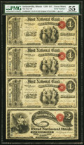 National Bank Notes, Serial Number 1 Jacksonville, IL - $1-$1-$1-$2 Original Fr. 380/Fr. 387 Uncut Sheet The First National Bank Ch. # 511 ...
