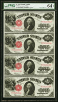 Fr. 39 $1 1917 Legal Tenders Uncut Sheet of Four PMG Choice Uncirculated 64 EPQ