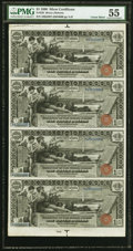Fr. 225 $1 1896 Silver Certificates Uncut Sheet of Four PMG About Uncirculated 55