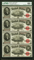 Fr. 60 $2 1917 Legal Tenders Uncut Sheet of Four PMG Choice Uncirculated 64 EPQ