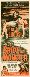 """Movie Posters:Horror, Bride of the Monster (Filmmakers Releasing, 1956). Folded, Very Fine. Insert (14"""" X 36"""").. ..."""
