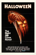 """Movie Posters:Horror, Halloween (Compass International, 1978). Flat Folded, Very Fine. One Sheet (27"""" X 41""""). Blue Ratings Box Panavision Style, B..."""