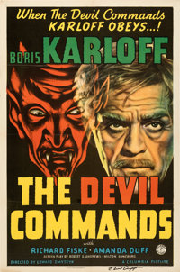 """The Devil Commands (Columbia, 1941). Folded, Very Fine-. Autographed One Sheet (27"""" X 41"""")"""