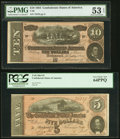 Confederate Notes:1864 Issues, T68 $10 1864 PMG About Uncirculated 53 EPQ;. T69 $5 1864 PCGS Very Choice New 64PPQ.. ... (Total: 2 notes)