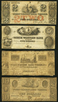Obsoletes By State:Virginia, A Group of Four Bank Notes from the North Western Bank of Virginia 1844-61 Very Good-Fine.. ... (Total: 4 notes)