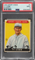 Baseball Cards:Singles (1930-1939), 1933 Sport Kings Ty Cobb #1 PSA Mint 9 - Pop Three, One Higher. ...