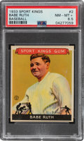 Baseball Cards:Singles (1930-1939), 1933 Sport Kings Babe Ruth #2 PSA NM-MT+ 8.5 - Pop One, Two Higher. ...