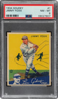 Baseball Cards:Singles (1930-1939), 1934 Goudey Jimmy Foxx #1 PSA NM-MT 8 - Only One Higher. ...