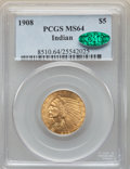 Indian Half Eagles, 1908 $5 MS64 PCGS. CAC. PCGS Population: (816/267). NGC Census: (724/128). CDN: $1,850 Whsle. Bid for NGC/PCGS MS64. Mintag...
