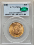 Indian Eagles: , 1926 $10 MS64 PCGS. CAC. PCGS Population: (4400/507). NGC Census: (4606/647). CDN: $1,170 Whsle. Bid for NGC/PCGS MS64. Min...