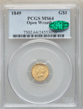 Gold Dollars: , 1849 G$1 Open Wreath MS64 PCGS. CAC. PCGS Population: (204/82). NGC Census: (245/51). CDN: $1,250 Whsle. Bid for NGC/PCGS M...