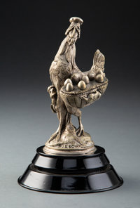 Arson Metal Hen and Basket Automobile Mascot, circa 1920 Marks: PIRSON 6 inches (15.2 cm) on a 2 inch (5.1