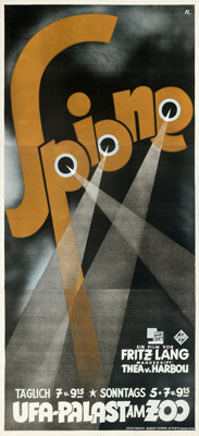 "Spies (UFA, 1928). Very Fine- on Linen. German Three Sheet (38"" X 84"") Max Fleiss Artwork"