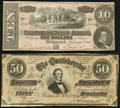 Confederate Notes:1864 Issues, T66 $50 1864 Fine-VF, small edge tears;. T68 $10 1864 Fine-VF, small right edge tear.. ... (Total: 2 notes)