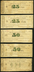 Obsoletes By State:Virginia, Lebanon, VA- County of Russell 25¢ (2); 50¢ (2); $1 June 13, 1862 J-L CR10-03 (2); CR10-04; CR10-06; CR10-09 Very Good or ... (Total: 5 notes)