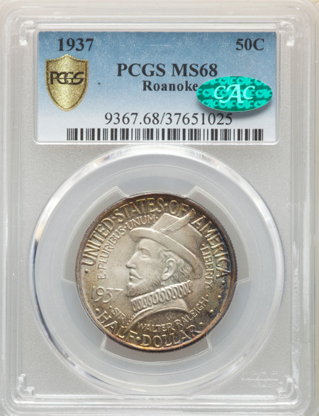 1937 50C Roanoke, MS CAC PCGS Secure 68 PCGS