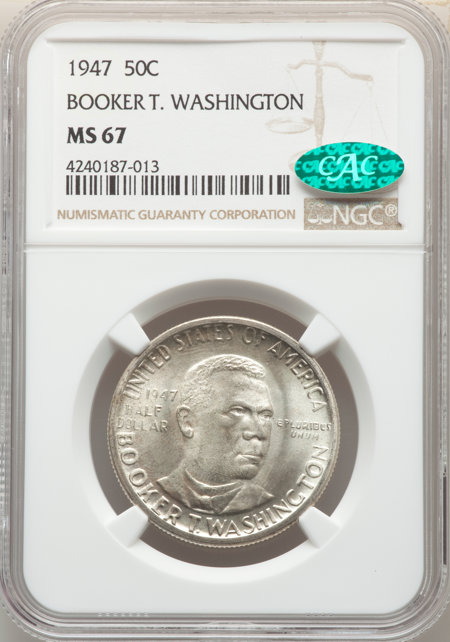 1947 50C Booker T. Washington, MS CAC 67 NGC