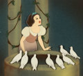 """Animation Art:Production Cel, Snow White and the Seven Dwarfs """"Some Day My Prince Will Come"""" Production Cel Courvoisier Setup (Walt Disney, 1937)...."""