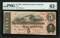 Confederate Notes:1864 Issues, T69 $5 1864 PF-8 Cr. 562 PMG Choice Uncirculated 63 EPQ.. ...