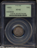 Coins of Hawaii: , 1883 10C Hawaii Ten Cents XF40 PCGS. Pretty mauve-gray ...
