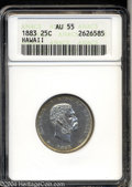 Coins of Hawaii: , 1883 25C Hawaii Quarter AU55 ANACS. Bright surfaces ...