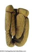 Boxing Collectibles:Memorabilia, Tommy West 1900 Fight Worn Gloves From The Jack Bonner Bout
