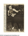 """Boxing Collectibles:Autographs, Tommy Burns Signed Photo """"Tiny"""" Tommy Burns was ..."""