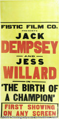 Boxing Collectibles:Autographs, Willard-Dempsey 1939 Fight Film Poster A spectacular 3 ...