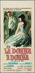 "Movie Posters:Foreign, A Woman is a Woman (Euro International, 1961). Folded, Fine/Very Fine. Italian Locandina (13.25"" X 27.75""). Sandro Symeoni A..."